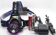 2000Lm CREE XM-L T6 LED Rechargeable Headlamp Headlight Flashlight Torch Purple