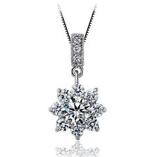 """1.2CT Diamond 18KRGP 18"""" S925 Sterling Silver chain Gift her Wedding MOM -#50"""