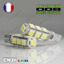 2 AMPOULE 13 LED 5050 T10 ANTI ERREUR ODB W5W W3W W2,1 x9.5D 194 BLANC XENON 12V