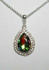 30mm pendant, mystic/rainbow glass centre  - 17'' chain