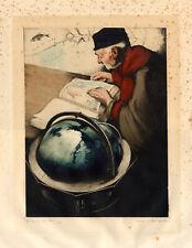 Antique Print-GEOGRAPHER-GEOGRAPHE-GLOBE-Maurice Langaskens-c.1930