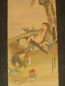 ANTIQUE JAPANESE MEIJI ERA SCROLL HAND PAINTED CHINESE BUDDHIST GOD OF LUCK
