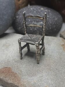 Nice 7g VINTAGE DINNING ROOM CHAIR MINIATURES DOLL HOUSE 800 STERLING SILVER