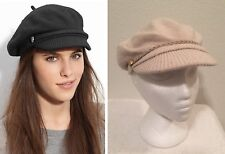 Ralph Lauren Braided Lambs Wool Blend Womens Newsboy Fisherman Hat Cap Beige