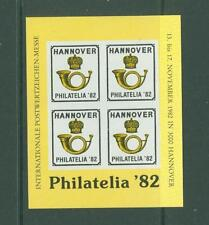 Block J12 Special Sheet 1982 Germany Philately Hannover