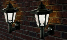 2 x LED SOLAR POWERED WALL LANTERN LAMP SUN LIGHTS BLACK OUTDOOR MOUNT GARDEN
