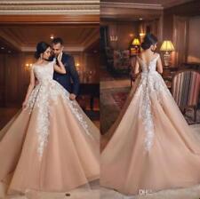 Modest Applique Lace Ball Wedding Dress Off Shoulder Princess Bridal Gown Custom