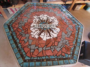 48'' Marble Dining Table Top Carnelian Turquoise Mosaic Inlay Christmas Decor