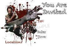 Walking Dead Zombie Party Invitations with matching envelopes, birthday, 12pack