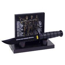 Vietnam War Veterans Memorial Plaque & Commemorative Black Survival Dagger Knife