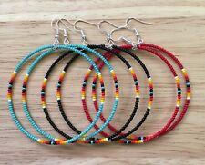 """3 Pair Lot Native American Style 2.5"""" Beaded Hoop Earrings"""
