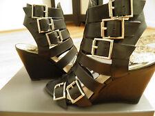 Vince Camuto MARTEZ Wedge Gladiator Sandals 6.5M Black Open Toe Leather NIB