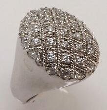 925 STERLING SILVER ROUND CZ CUBIC ZIRCONIA LARGE CLUSTER RING SIZE 8 RT7