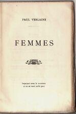 1902 Verlaine Femmes Poésies érotiques édition rare imprimée à 500 exemplaires