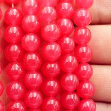 """8mm Deep Pink Rose Red GEMSTONE Round Loose Beads 15"""""""