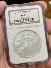 2008-W $1 American Silver Eagle NGC MS70 Burnished