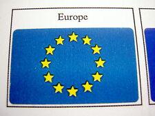 50 Drapeaux adhésifs EUROPE 37 x 22 mm, lot mini flags auto-collants EUROPA U.E.