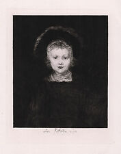 "Superb REMBRANDT 1800s Portrait Etching ""William III as a Boy"" SIGNED Framed COA"
