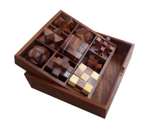 STEM brain teaser puzzle set, 9 wooden mechanical puzzles, IQ logical game