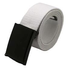 Fashion Mens Womens Plain Webbing Canvas Belt Buckle Black Cotton Fabric Unisex