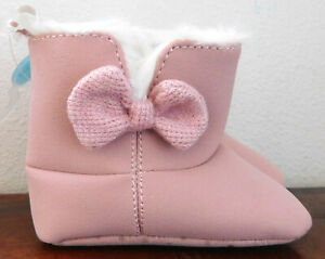 CARTERS INFANT/BABY Light PINK with BOW girl BOOTS SIZE 3-6m NEW FREE SHIPPING