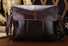 Genuine 100 % Black Brown Leather Messenger Satchel Carry Shoulder Strap Bag