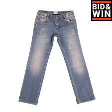 Rrp€125 Armani Junior Jeans Size 6Y / 118Cm Distressed Faded Logo Detail Zip Fly