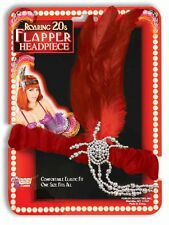 Roaring 20s Charleston Flapper Red Headpiece and Feather Costume Accessory