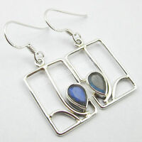 "925 Sterling Silver BLUE FIRE LABRADORITE ARTISAN Frame DANGLING Earrings 1.5"""