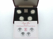 1984-1987 Royal Mint inglese UK £ 1 una sterlina ARGENTO PROOF 4 MEDAGLIA SET BOX COA