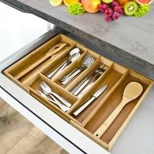 Portaposate da tavolo o da ripiano mDesign Organizer cucina con 4 scomparti bianco//naturale Contenitore posate in plastica con manico in legno