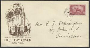 1935 #223 10c Mountie FDC, Etherington Cachet, Hamilton CDS