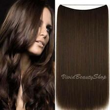 Halo Invisible Wire Flip In No Clip Remy Human Hair Extensions Medium Brown #4