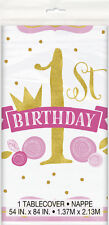 1st BIRTHDAY Pink and Gold PLASTIC TABLE COVER ~ Party Supplies Decorations Girl