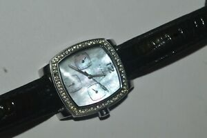 SKAGEN 558SSLB4 Watch Quartz Unisex 31mm Jeweled Bezel Mother Of Pearl Vintage
