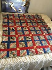 Antique Handmade Paneled Patch Strip Quilt - Stitched Vintage Red Blue Feedsack