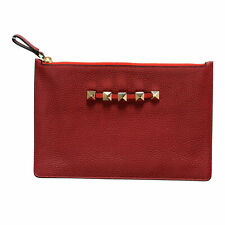 Valentino Garavani Women's Red 100 Leather Rockstud Small Clutch Bag