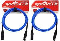 2 Rockville RCXFM6P-BL Blue 6' Female to Male REAN XLR Mic Cable 100% Copper
