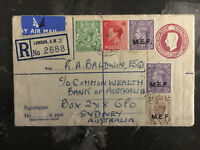 1952 England MEF Uprated PS Cover to Sydney Bank of Australia