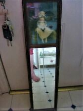 Antique Miror with picture of Victorian little girl in a bonnet  7.5 x 28 inches
