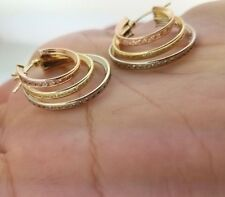 Solid 14k Yellow Gold White Rose Round Hoop Earrings