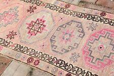 New listing Pink Vintage Hallway Runner 2'7x10'3 Turkish Runner Carpet Decor Shabby Chic Rug