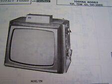 TOSHIBA T2T & T2W TELEVISION TV PHOTOFACT