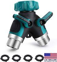"2 Way Heavy Duty Garden Hose Splitter 3/4"" Y Shape Valve Water Pipe Connector US"