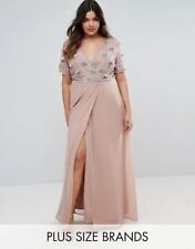 Lovedrobe Luxe Embellished Bodice Wrap Maxi Dress Rose UK 24 RRP £ 79