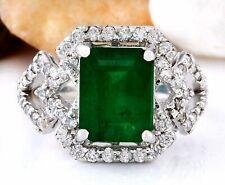 4.43 Carat Natural Emerald 14K Solid White Gold Diamond Ring