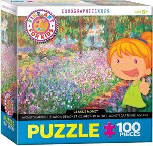 EuroGraphics Kids Monet's Garden 100 Piece Art Jigsaw Puzzle New Sealed Made USA