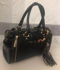 Kate Landry Black Leopard Undercover Satchel Purse Handbag Gold Zipper Accents