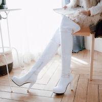 TOP Overkneestiefel Damenschuhe Schnalle Boots High Heels Europa Stiefel Gr33-48