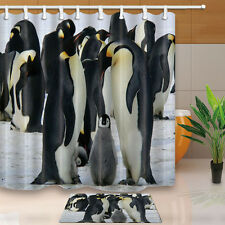 3D Penguin family Shower Curtain Waterproof Polyester Fabric & 12 Hooks 71*71in